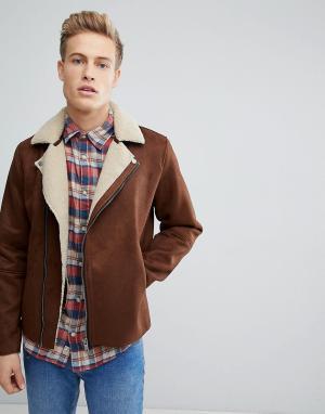 Jack & Jones Байкерская куртка из искусственной овчины Premium. Цвет: рыжий