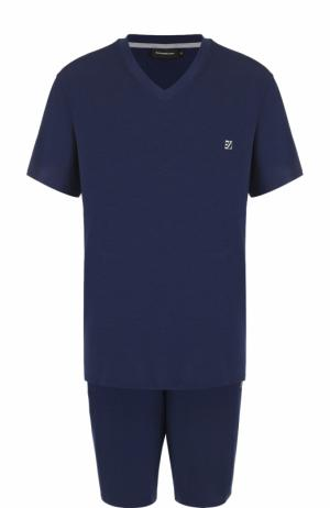 Пижама из вискозы с шортами Ermenegildo Zegna. Цвет: синий