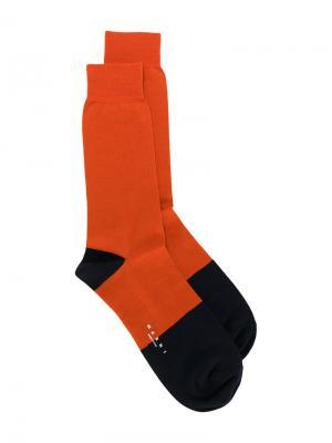 Носки по щиколотку дизайна колор-блок Marni. Цвет: жёлтый и оранжевый