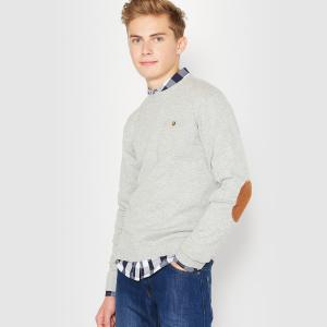 Пуловер с вставками на локтях 10-16 лет La Redoute Collections. Цвет: серый меланж,черный