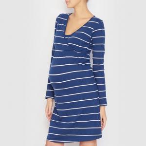 Ночная сорочка для беременных и кормящих женщин COCOON. Цвет: синий/ в полоску