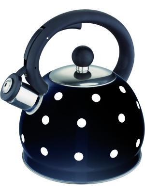 Стильный чайник в горошек со свистком 2,0л. RAINSTAHL. Цвет: черный