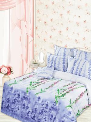 Постельное белье Романтика. Цвет: серо-голубой, голубой, сливовый