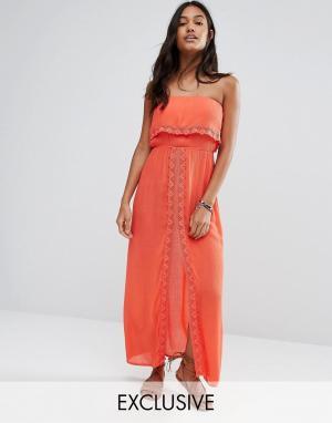 Akasa Пляжное платье макси с отделкой кроше и разрезом спереди. Цвет: оранжевый