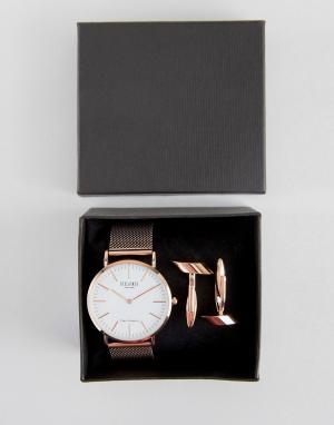 Reclaimed Vintage Подарочный набор с часами и запонками цвета розового золота. Цвет: золотой