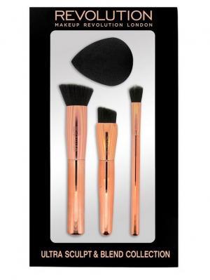 Набор кистей и спонжа для скульптурирования  Ultra Sculpt & Blend Collection Brush MakeUp Revolution. Цвет: золотистый, черный