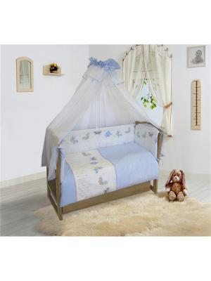 Комплект ПБ в кроватку, Ласковое лето (голубой) Soni kids. Цвет: голубой