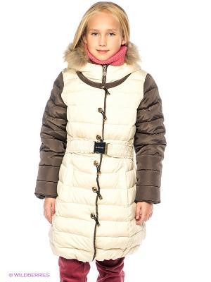 Пальто MES AMI. Цвет: бежевый, темно-коричневый