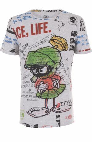 Хлопковая футболка с принтом Elevenparis. Цвет: серый