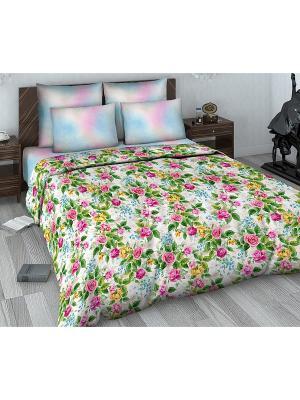 Комплект постельного белья из сатина 1,5 спальный Василиса. Цвет: розовый, бордовый