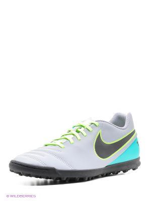Шиповки TIEMPO RIO III TF Nike. Цвет: зеленый, светло-серый, черный