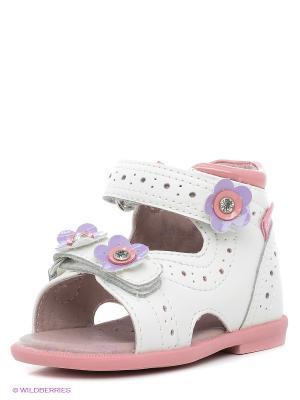 Сандалии Flamingo. Цвет: белый, розовый
