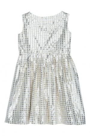 Жаккардовое платье в клетку ALINA Bonpoint. Цвет: золотой