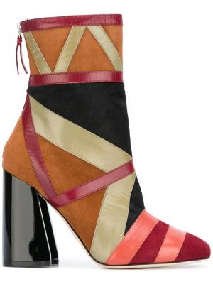 Жаккардовые ботинки Paula Cademartori. Цвет: коричневый