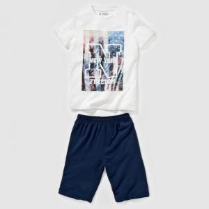 Пижама с шортами рисунком New York, 10-16 лет R pop. Цвет: белый/ темно-синий