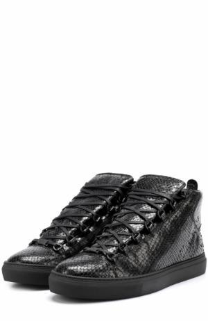 Высокие кожаные кеды на шнуровке Balenciaga. Цвет: черный