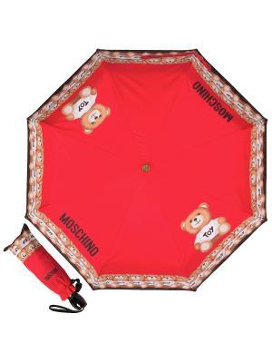 Зонт складной MOSCHINO. Цвет: красный, бежевый, черный