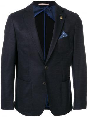 Приталенный пиджак с нагрудным платком Paoloni. Цвет: синий