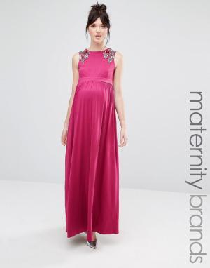Little Mistress Maternity Платье макси без рукавов для беременных с цветочной отделкой на плечах. Цвет: розовый