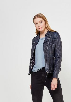 Куртка кожаная Mustang. Цвет: синий