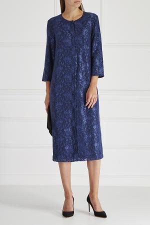 Платье с кружевом No Name. Цвет: синий