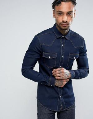 ASOS Темная джинсовая облегающая рубашка в стиле вестерн. Цвет: темно-синий
