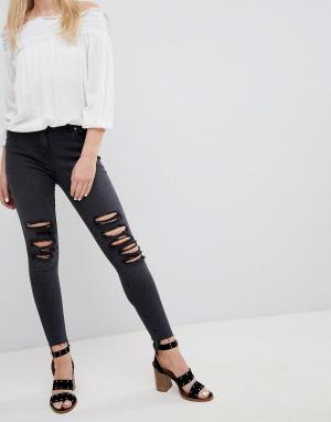 Parisian Рваные зауженные джинсы. Цвет: серый