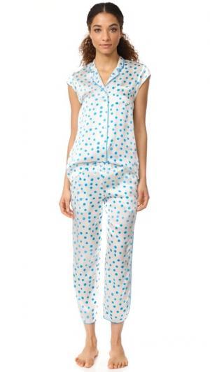 Шелковая пижама Poppy Three J NYC. Цвет: голубая капля