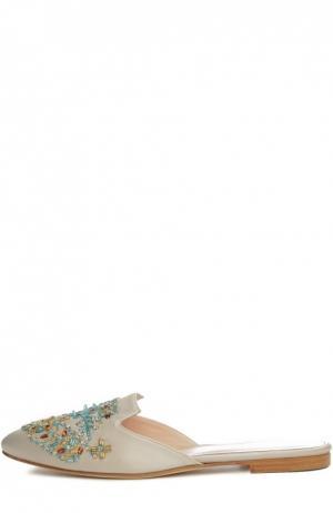 Шлепанцы Patrizia с вышивкой бисером Oscar de la Renta. Цвет: светло-бежевый