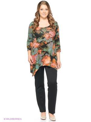 Блузка BERKANA. Цвет: черный, зеленый, терракотовый