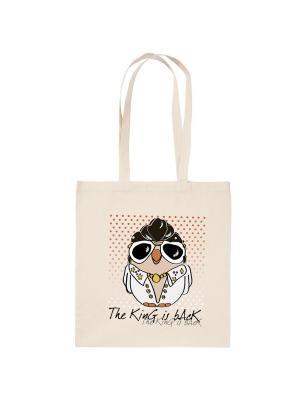 Холщовая сумка с совой Элвис Пресли Goofi. Цвет: бежевый