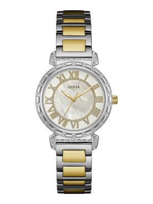 Часы GUESS. Цвет: белый, желтый, золотистый, серебристый