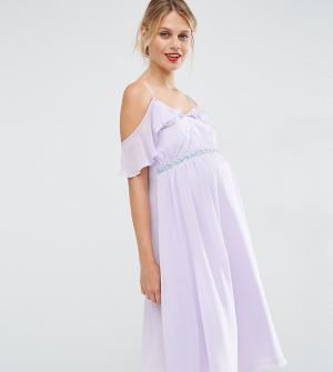 ASOS Maternity Платье миди с открытыми плечами для беременных. Цвет: фиолетовый