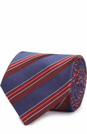 Шелковый галстук в полоску Brioni. Цвет: синий