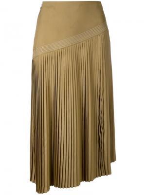 Плиссированная юбка Nehera. Цвет: коричневый