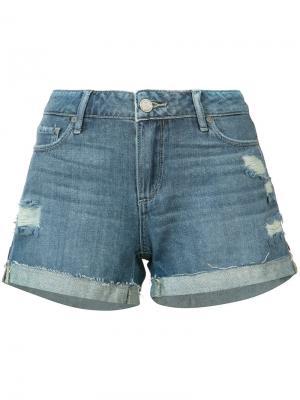 Рваные джинсовые шорты Paige. Цвет: синий