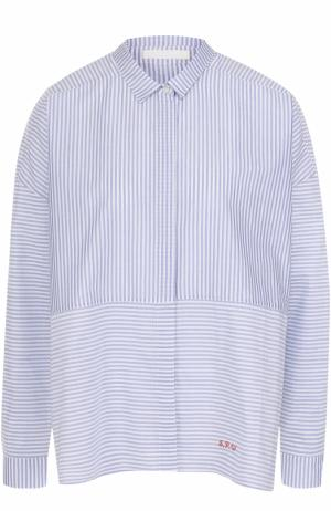 Хлопковая блуза свободного кроя в полоску 5PREVIEW. Цвет: голубой