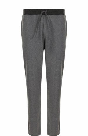 Хлопковые брюки прямого кроя с поясом на кулиске Ermenegildo Zegna. Цвет: серый