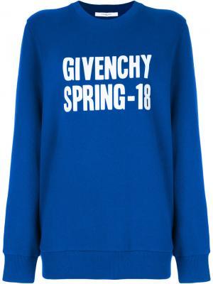 Толстовка с логотипом Givenchy. Цвет: синий