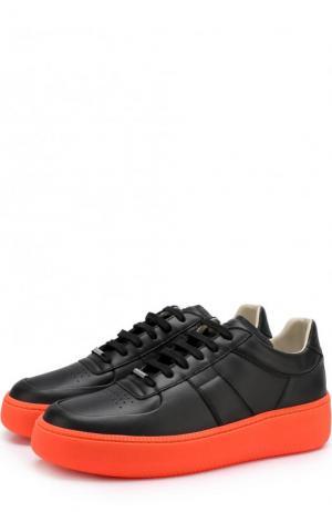 Кожаные кеды на шнуровке Maison Margiela. Цвет: черный