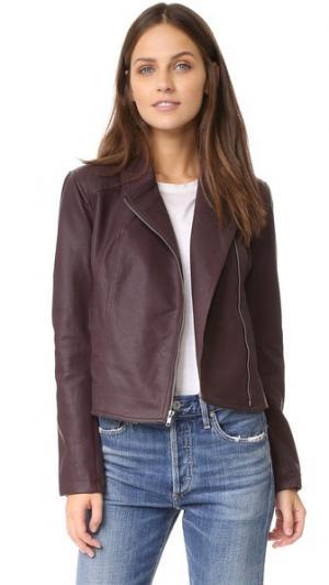 Байкерская куртка Joslyn из искусственной кожи с эффектом потертости cupcakes and cashmere. Цвет: темно-красный