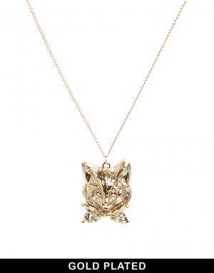 Позолоченное ожерелье с подвеской в виде головы кота And Mary. Цвет: золотой