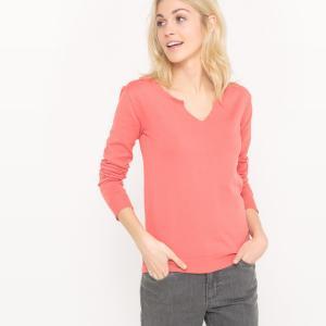 Пуловер с круглым вырезом разрезом спереди из хлопка La Redoute Collections. Цвет: розовый коралловый,черный