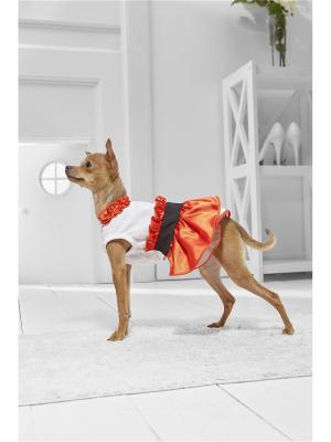 Платье с пышной юбкой и рюшами для миниатюрных пород собак весом 2-4 кг длиной спинки около 25 см Nothing but Love. Цвет: белый, красный, черный