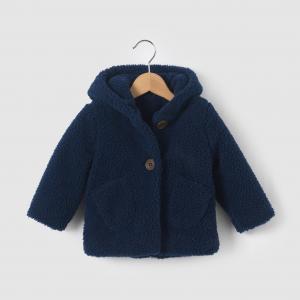 Пальто из искусственного меха на 1 мес.-3 года R mini. Цвет: сине-зеленый