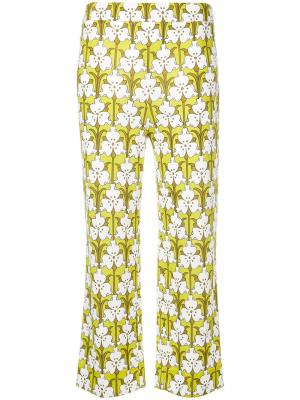 Укороченные брюки с принтом Prada. Цвет: зелёный