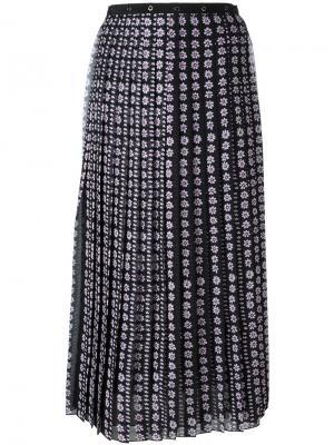 Плиссированная блузка с цветочным принтом Giamba. Цвет: чёрный