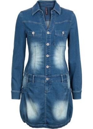 Джинсовое платье с длинным рукавом (синий «потертый») bonprix. Цвет: синий «потертый»