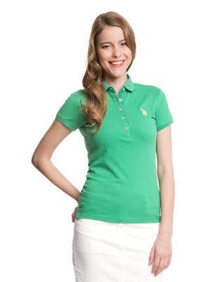 Футболка-поло U.S. Polo Assn.. Цвет: зеленый, лазурный
