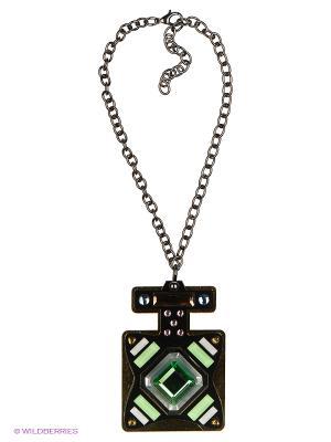 Колье by LA STRASA. Цвет: серебристый, зеленый, прозрачный, светло-зеленый, черный